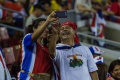 哥斯达黎加的足球迷 图库摄影
