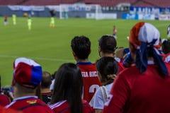 哥斯达黎加的足球迷 库存照片