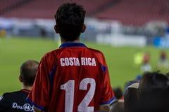 哥斯达黎加的足球迷 免版税库存照片