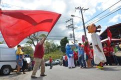 哥斯达黎加的总统选举2014年:在街道上的一个舞蹈 免版税库存图片