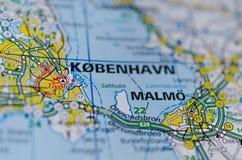 哥本哈根和Malmö在地图 图库摄影