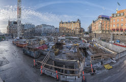 哥本哈根地铁建造场所 免版税库存图片