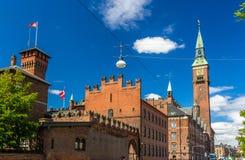哥本哈根市政厅看法  免版税库存照片
