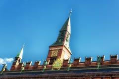 哥本哈根市政厅钟楼,丹麦 免版税库存图片