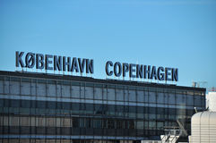 哥本哈根机场标志,丹麦 库存图片