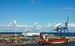 集装箱码头在哥本哈根 免版税库存图片