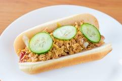 哥本哈根热狗用番茄酱,芥末,切黄色葱 油煎的葱和切的绿色黄瓜 库存图片