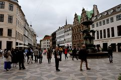 哥本哈根财政街道STROEGET丹麦 免版税库存图片