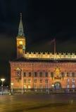 哥本哈根香港大会堂在晚上 图库摄影
