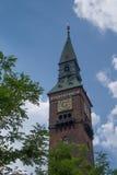 哥本哈根香港大会堂,丹麦的尖顶 库存照片