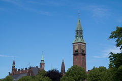 哥本哈根香港大会堂,丹麦的尖顶 免版税库存图片