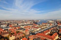 哥本哈根鸟瞰图  免版税库存图片