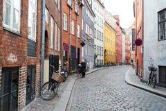 哥本哈根鹅卵石街道  免版税库存照片