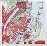 哥本哈根,丹麦四郊的老1945地图  免版税库存图片
