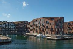 哥本哈根,丹麦- 2017年4月30日:Christiansha江边  免版税库存照片