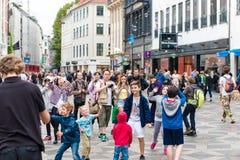 哥本哈根,丹麦- 2015年8月24日:泡影吸引力在街市的哥本哈根,丹麦 库存照片