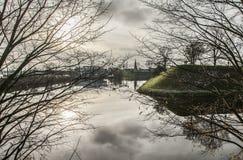 哥本哈根,丹麦-树和云彩 库存照片