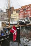 哥本哈根- 9月07 :在NYHAVN的游艇201 9月07日, 库存照片