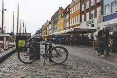 哥本哈根- 9月07 :在NYHAVN的游艇201 9月07日, 库存图片