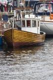 哥本哈根- 9月07 :在NYHAVN的游艇201 9月07日, 免版税库存照片