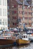 哥本哈根- 9月07 :在NYHAVN的游艇201 9月07日, 免版税库存图片
