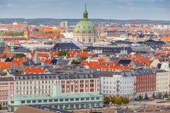 哥本哈根 空中城市视图 库存照片