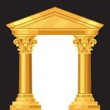 哥林斯人现实古色古香的希腊寺庙与 图库摄影