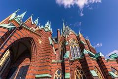 哥特人,瑞典- 2017年4月14日:得到的奥斯卡腓特烈教会 免版税库存图片