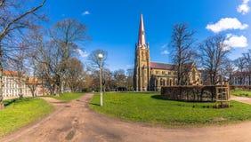哥特人,瑞典- 2017年4月14日:Haga教会全景  免版税图库摄影