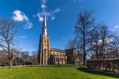 哥特人,瑞典- 2017年4月14日:Haga教会在哥特人, 免版税库存图片