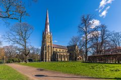 哥特人,瑞典- 2017年4月14日:Haga教会在哥特人, 库存图片