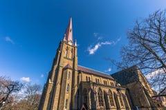 哥特人,瑞典- 2017年4月14日:Haga教会在哥特人, 库存照片