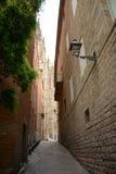 哥特式四分之一街道在巴塞罗那,西班牙 库存图片