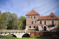哥特式城堡在Oporow,波兰 免版税库存图片