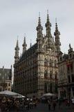 哥特式城镇厅在Leuven,比利时 免版税库存照片