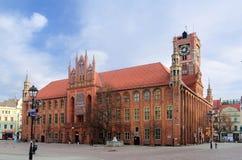 哥特式城镇厅 老镇在托伦,波兰 免版税库存照片