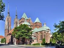 哥特式大教堂在Wroclaw,波兰 免版税图库摄影