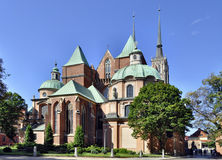 哥特式大教堂在Wroclaw,波兰 库存图片