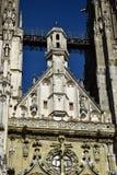 哥特式大教堂的细节在雷根斯堡,德国 库存图片
