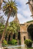 哥特式天主教和热带棕榈树 免版税库存照片