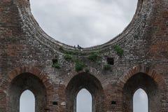 哥特式天空教会修道院圣galgano托斯卡纳意大利托斯卡纳历史的窗口 库存图片