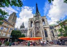 哥特式宽容大教堂鲁昂,诺曼底,法国Notre Dame  库存照片