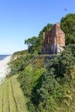 哥特式教会废墟从位于Trzesacz的14/15世纪在波罗的海附近 库存照片