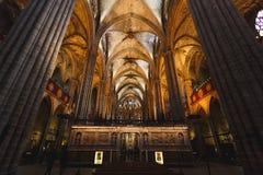 哥特式教会,巴塞罗那内部  库存图片
