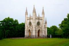 哥特式教堂,圣亚历山大・涅夫斯基, Peterhof教会  库存照片