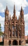 哥特式样式圣安妮教会在维尔纽斯,立陶宛 免版税库存照片