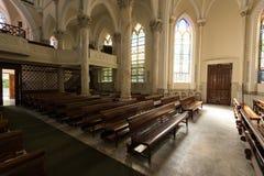 哥特式样式教会内部 库存照片
