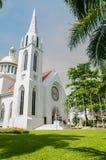 哥特式样式钟楼,假定大学,泰国 免版税库存照片