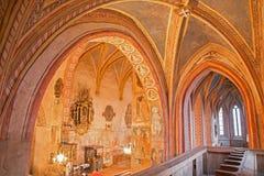 哥特式福音派教会在从14 - 15分的Stitnik。 免版税库存图片