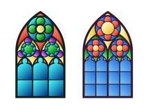 哥特式视窗 葡萄酒框架 教会玻璃被弄脏的视窗 免版税库存照片
